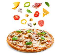 Картинка Быстрое питание Пицца Белым фоном Базилик душистый Пища