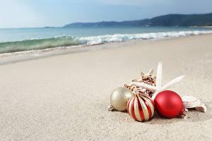 Фото Берег Рождество Пляж Шарики Природа
