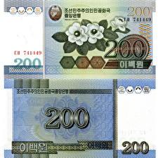 Обои Деньги Купюры 200 won North Korea (DPRK) фото