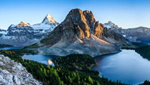 Фотографии Канада Парки Гора Озеро Леса Пейзаж Банф