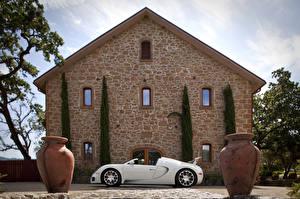Фотографии BUGATTI Белый Сбоку Роскошные Родстер 2008-12 Veyron Grand Sport Roadster Автомобили