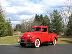 Картинки Форд Ретро Красные Металлик Пикап кузов 1940 V8 Pickup Truck авто
