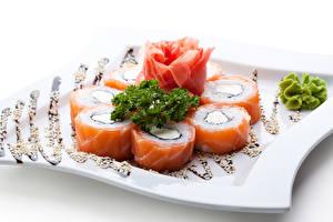 Фотография Морепродукты Суши Рыба Белый фон Продукты питания