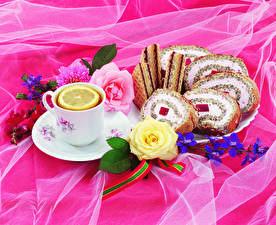Обои Натюрморт Чай Пирожное Розы Лимоны Чашка Тарелке Пища