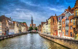 Обои Бельгия Здания Брюгге Водный канал Улица HDRI город
