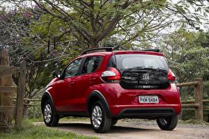Картинки Fiat Бордовый Металлик Вид сзади 2016 Mobi Way On Машины