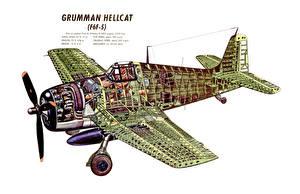 Фото Самолеты Белый фон Grumman F6F Hellcat