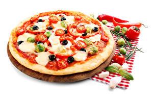 Фото Фастфуд Пицца Овощи Чеснок Помидоры Белый фон Еда
