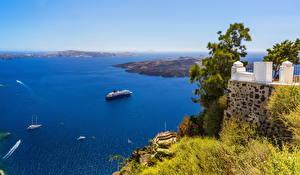 Обои Греция Море Побережье Пейзаж Круизный лайнер Santorini Природа фото