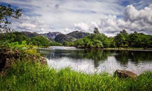 Картинка Норвегия Гора Озеро Пейзаж Траве Облако Egersund Природа