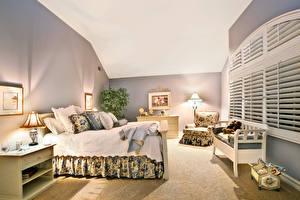 Обои Интерьер Дизайн Спальня Кровать Лампа Подушки фото