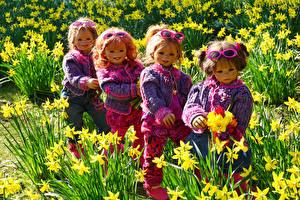 Фото Германия Парки Нарциссы Кукла Девочки Свитер Очки Grugapark Essen Природа