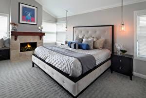 Обои Интерьер Дизайн Спальня Кровать Камин Лампа Подушки фото