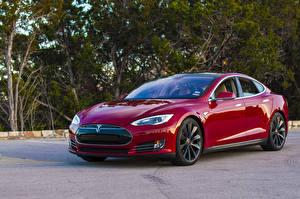 Картинка Tesla Motors Темно красный Металлик 2012-14 Model S P85 Автомобили