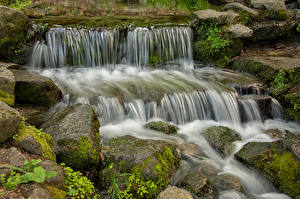 Картинки Америка Парки Водопады Камень Йосемити Мха
