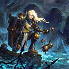 Фотография Diablo III Воины Щит Блондинка Reaper of Souls Игры Фэнтези