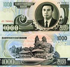 Обои Деньги Купюры 1000 won North Korea (DPRK) фото