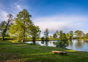 Фотография Хорватия Пейзаж Лето Озеро Небо Загреб Траве Скамейка Дерево Bobovica Природа