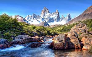 Фото Чили Горы Камни Речка Пейзаж Снег Patagonia Природа