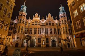 Обои Польша Дома Гданьск Дизайн Ночь Города фото
