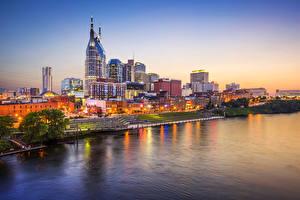 Обои США Дома Реки Побережье Ночь Nashville Tennessee Города фото