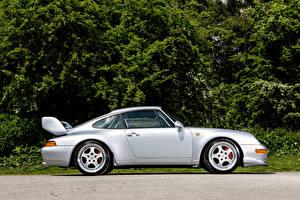 Картинки Porsche Серебристый Сбоку 1995 911 Carrera RS Club Sport Авто