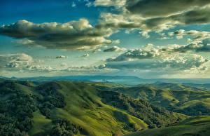 Фотографии США Пейзаж Горы Небо Луга Облачно Холмы Cambrian Hills Природа