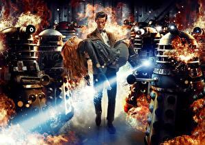 Обои Мужчины Робот Рыжая Двое Doctor Who, Matt Smith Фильмы фото