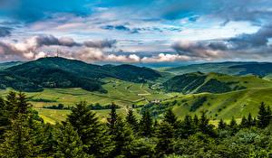 Картинка Германия Пейзаж Гора Поля Лес Облака Ели Холмов Kaiserstuhl Hills Природа