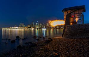 Обои Канада Побережье Камни Ванкувер Ночь Природа фото