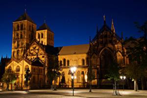Обои Германия Храмы Собор Ночь Уличные фонари Дизайн Münster Cathedral Города