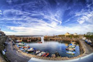 Обои Великобритания Пирсы Катера Лодки Небо HDRI Inner Harbour Alderney Города