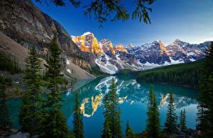 Фото Канада Гора Пейзаж Озеро Лес Банф Moraine Lake