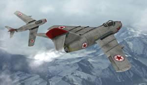 Обои Самолеты Истребители Вдвоем MIG 15 3D_Графика