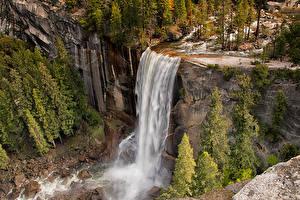 Картинка Америка Парк Водопады Пейзаж Йосемити Скале Дерева