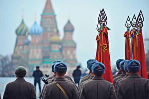Обои День Победы Россия Москва Шапки Городская площадь Red Square фото