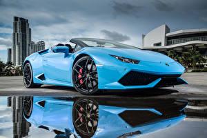 Фотография Ламборгини Голубой Металлик Люксовые 2015-16 Huracán LP 610-4 Spyder Авто