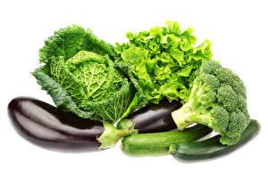Фотография Овощи Капуста Белый фон Еда
