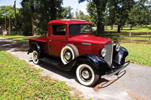 Обои Винтаж Красный Пикап кузов 1934 International C-1 Pickup авто