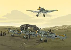 Фотографии Самолеты Рисованные Истребители Jagdgeschwader 54, Messerschmitt Bf.109F2, 1941 Ostfront Авиация Армия