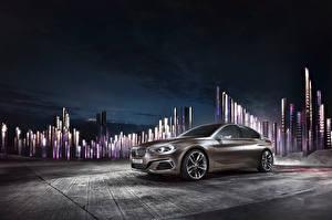 Фотография BMW Ночью Седан Compact Sedan Concept Автомобили