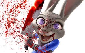 Картинки Зайцы Нож Кровь Смотрит Белый фон Zootopia Judy Hopps Мультфильмы