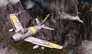 Фото Самолеты Истребители Sabre over Korea 3D_Графика