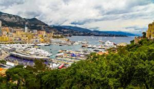 Обои Монако Пристань Дома Гора Облака Города