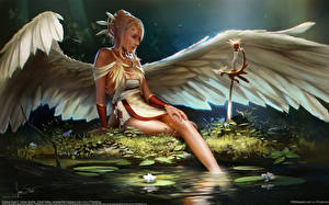 Обои Ангелы Крылья James Strehle Фэнтези Девушки фото