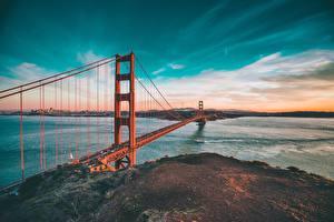 Обои Мосты Небо США Океан Сан-Франциско golden gate bridge Природа