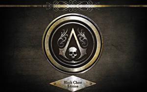 Картинки Assassin's Creed 4 Black Flag Логотип эмблема Черепа Игры