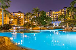 Картинки Курорты Дома Вечер Колумбия Плавательный бассейн Дерево Пальмы Santa Marta