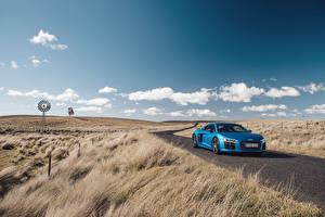 Фотография Ауди Поля Небо Дороги 2016 R8 V10 Plus Автомобили Природа