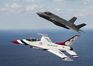 Фото Самолеты Истребители F-16 Fighting Falcon 2 Thunderbird F-16 F-35A